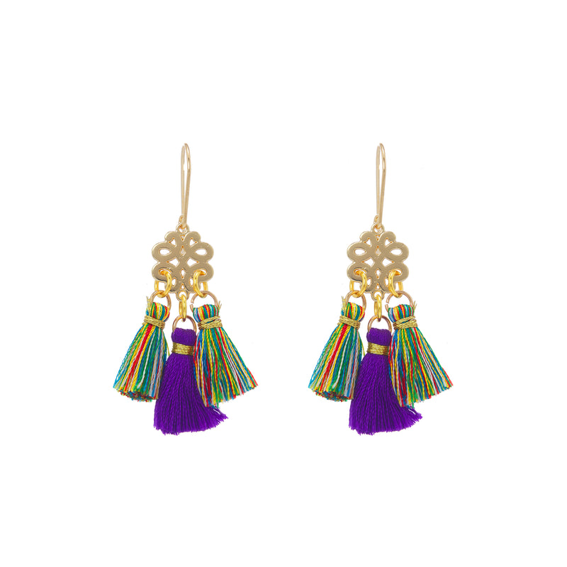 Earrings - Mini Tassel - Tropical Bird