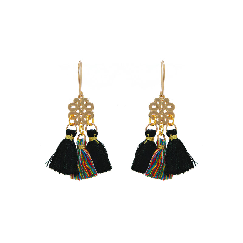 Earrings - Mini Tassel - Tropical Midnight
