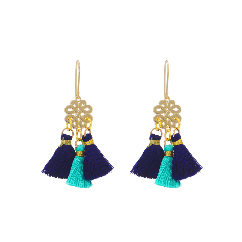 Earrings - Mini Tassel - Tropical Rain