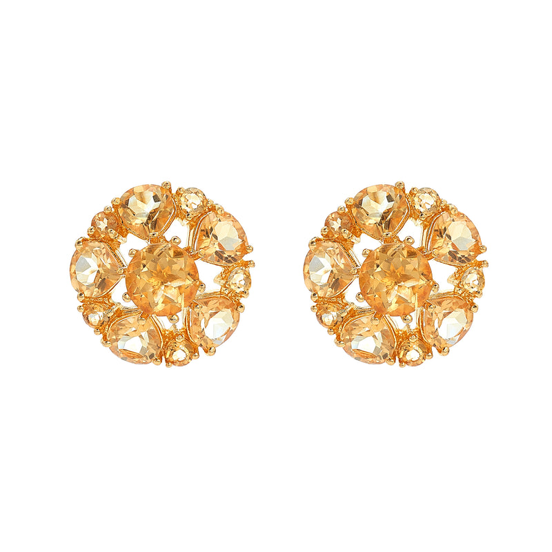 Earring - Citrine Cluster Flower