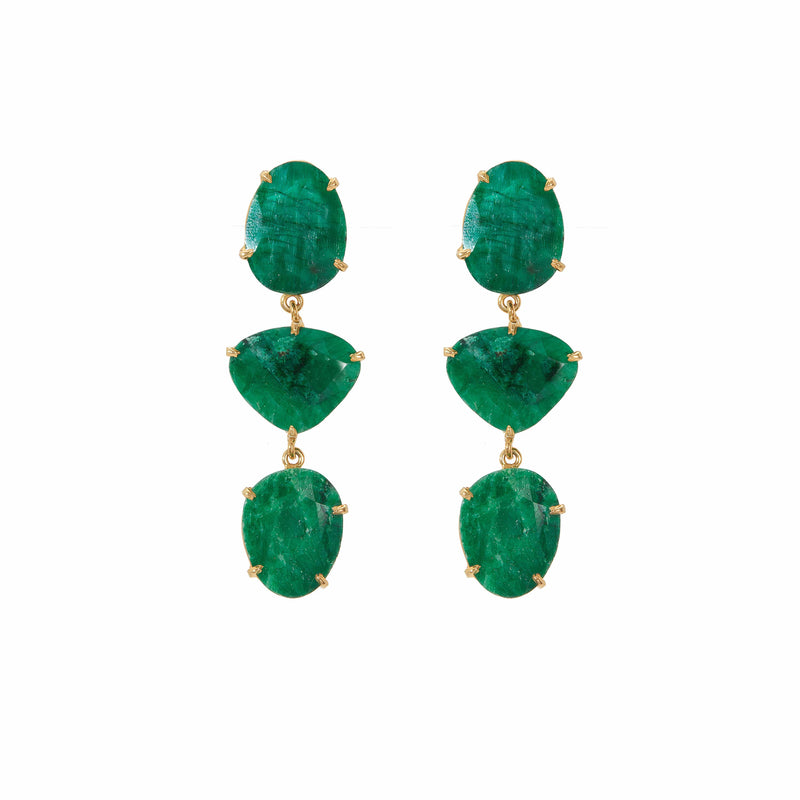 Earrings - Emerald Green Trio Drops