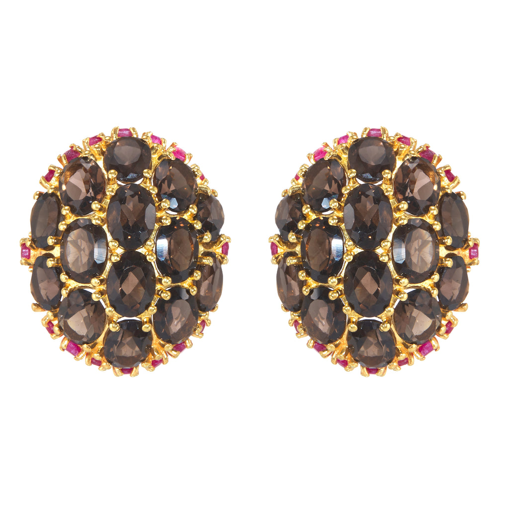 Earrings - Smoky Quartz & Ruby Globes