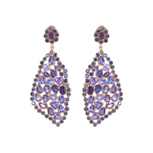 Earrings - Free Form Tanzanite & Sapphire Earrings