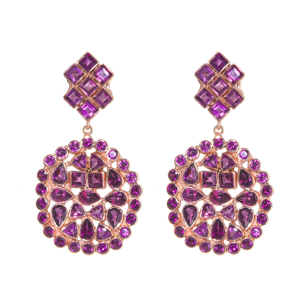 Earrings - Free Form Rhodolite Earrings