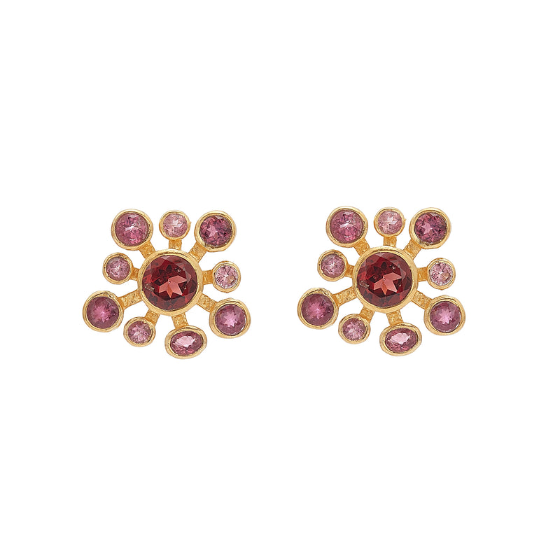 Earrings - Garnet & Tourmaline Flowers