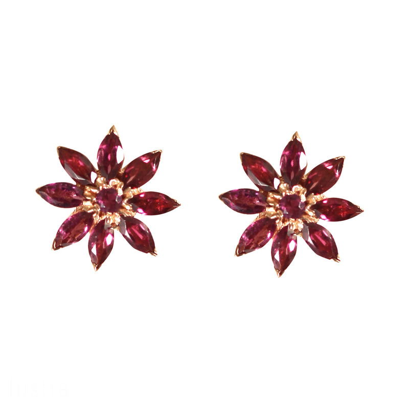 Earrings - Daisy in Rhodolite Garnet