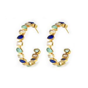Earrings -  Mixed Hoops in Blues