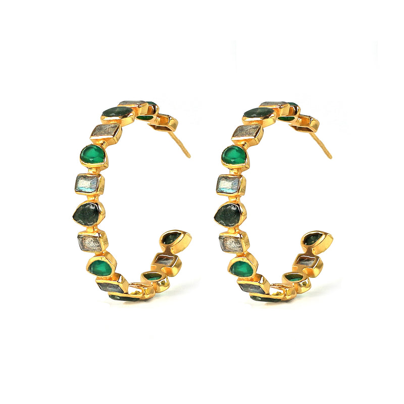Earrings -  Mixed Hoops in Greens
