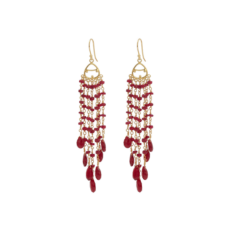Earrings - Large Ruby Chandelier