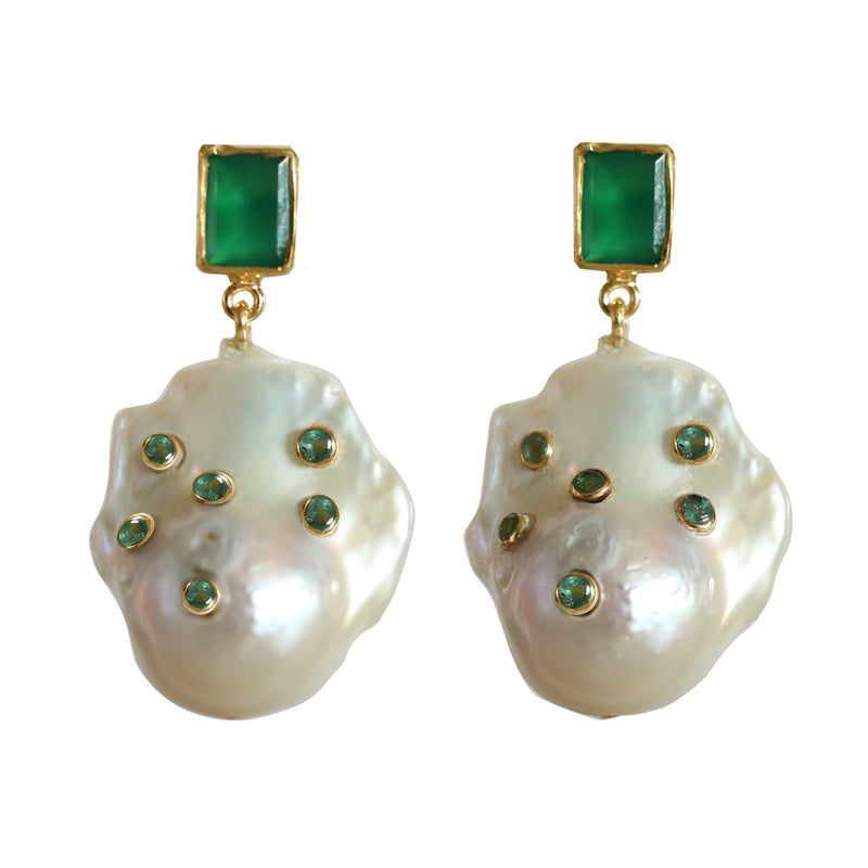 Earrings - Emerald & Baroque Pearls