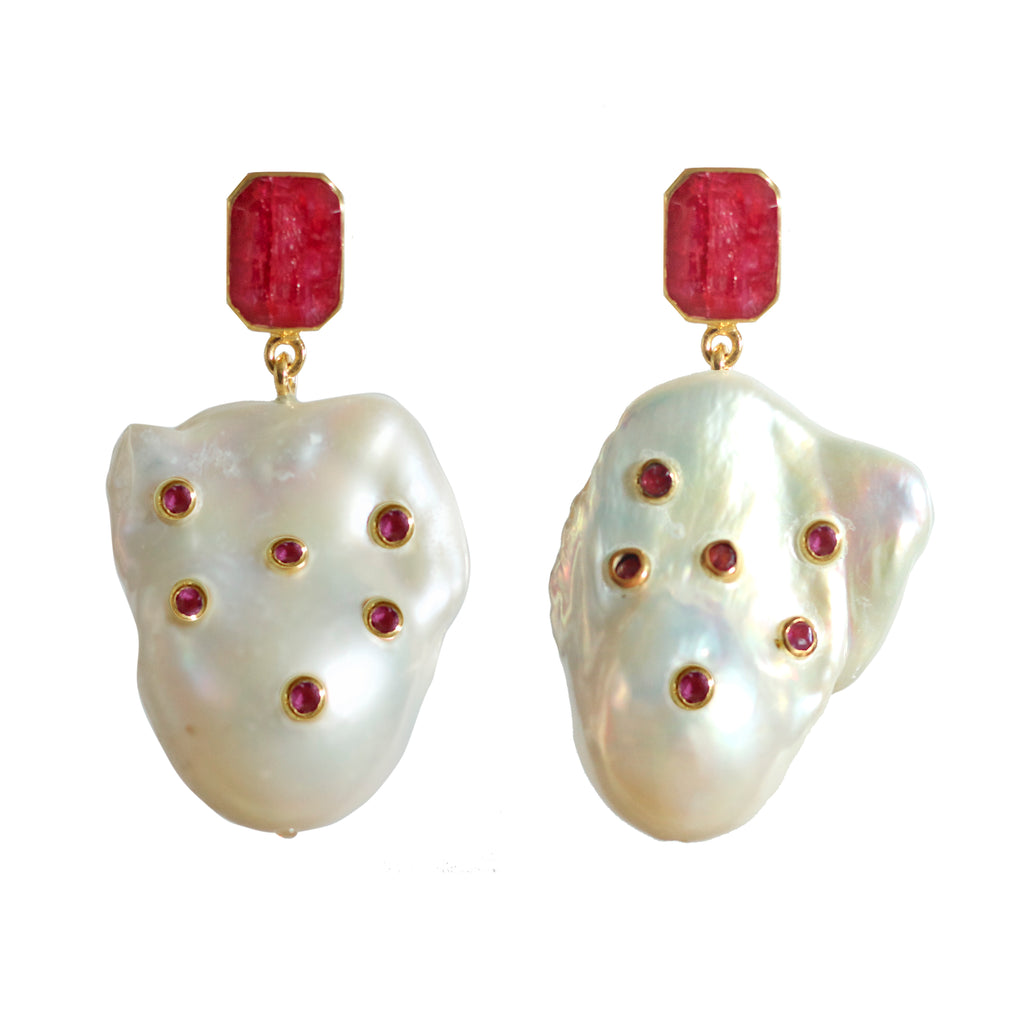 Earrings - Ruby & Baroque Pearls