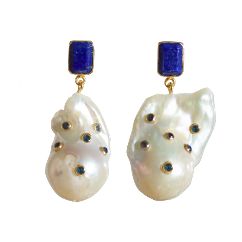 Earrings - Sapphire & Baroque Pearls