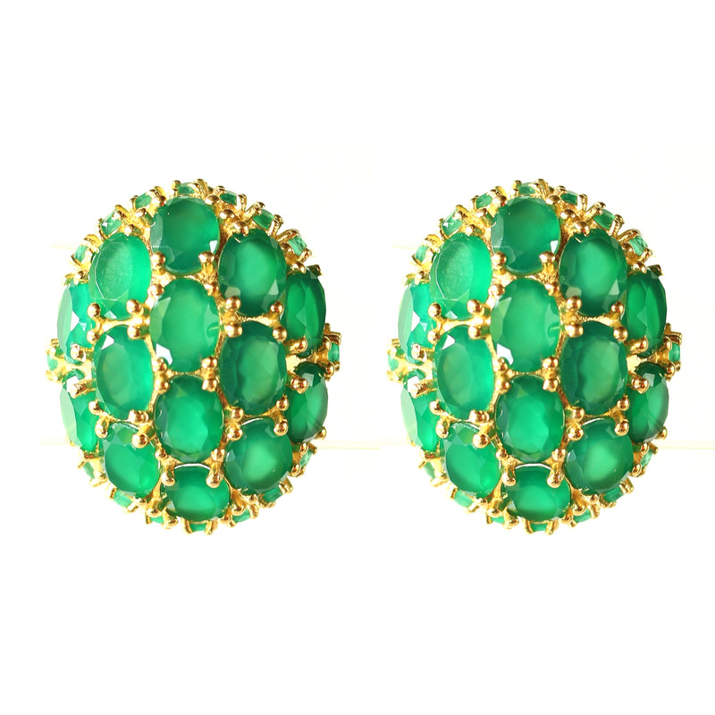 Earrings - Green Onyx & Siliminite Globes