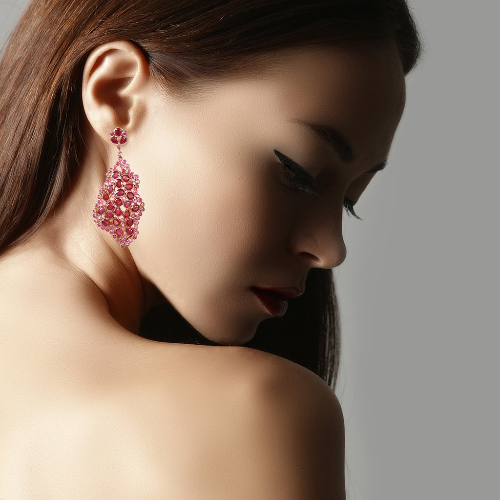 Earrings - Free Form Ruby Earrings