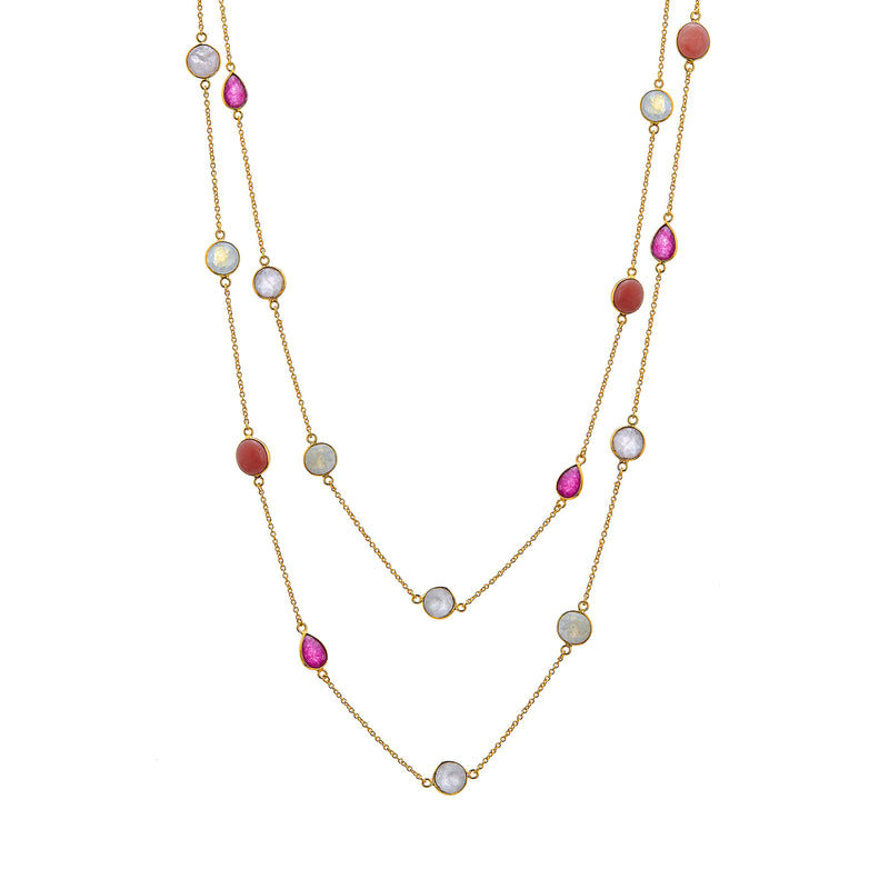 Necklace - Ruby, Pink Opal and Rainbow Moonstone