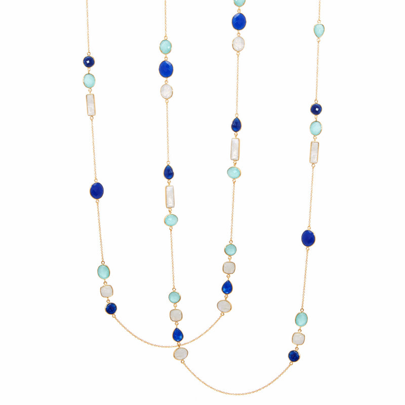 Necklace - Aqua & Blue Chalcedony & Rainbow Moonstone