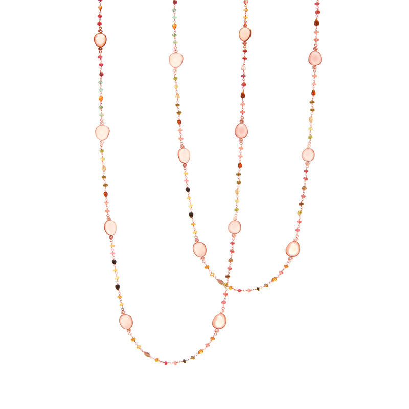 Necklace - Rose Chalcedony & Tourmaline Beads