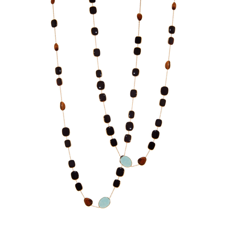 Necklace - Black Onyx, Blue Chalcedony & Tiger's Eye