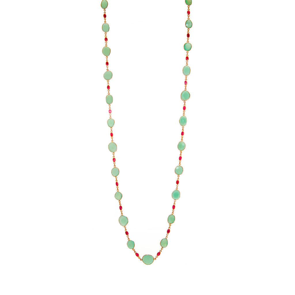 Necklace - Chalcedony & Ruby