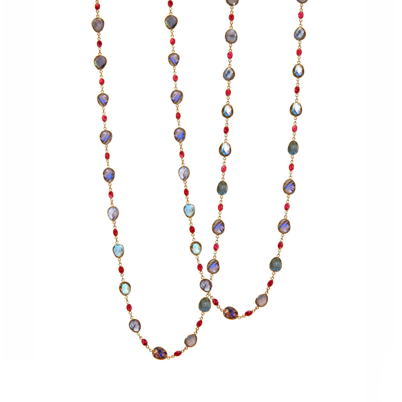 Necklace - Labradorite & Ruby