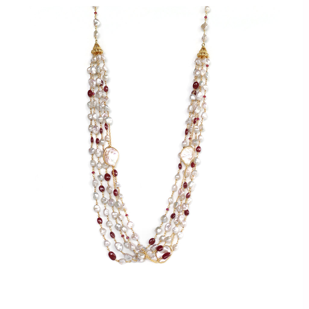 Necklace - 5 strand Ruby & Pearls