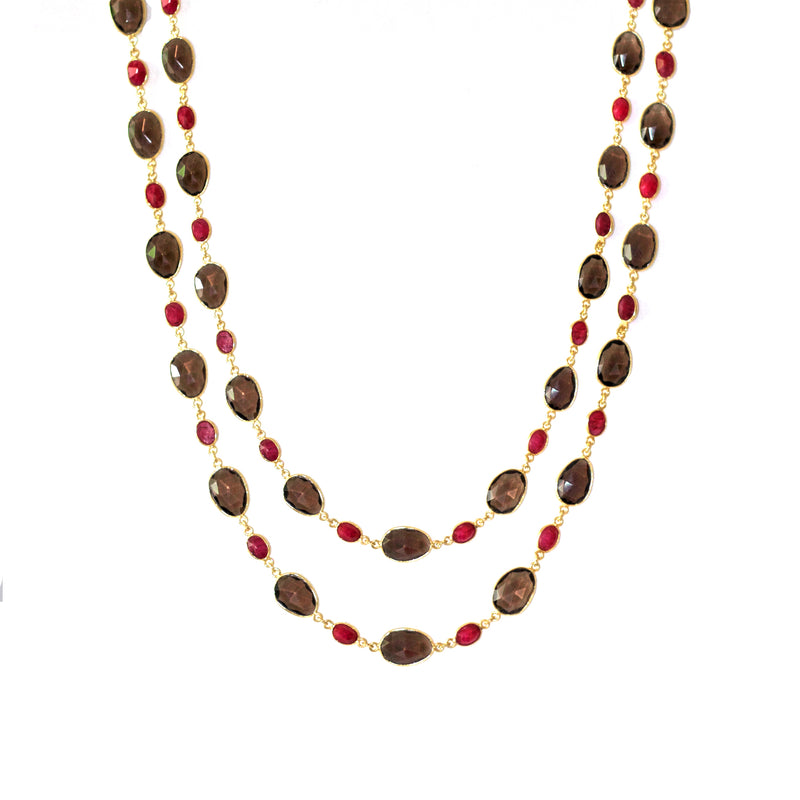 Necklace - Smoky Quartz & Ruby