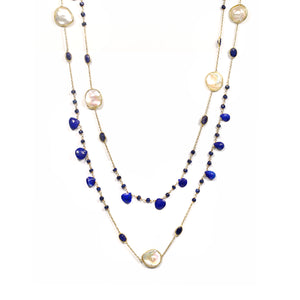 Necklace - Sapphire & Freshwater Pearls