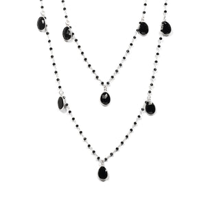 Necklace - Black Onyx Beads & Gemstone Dangles