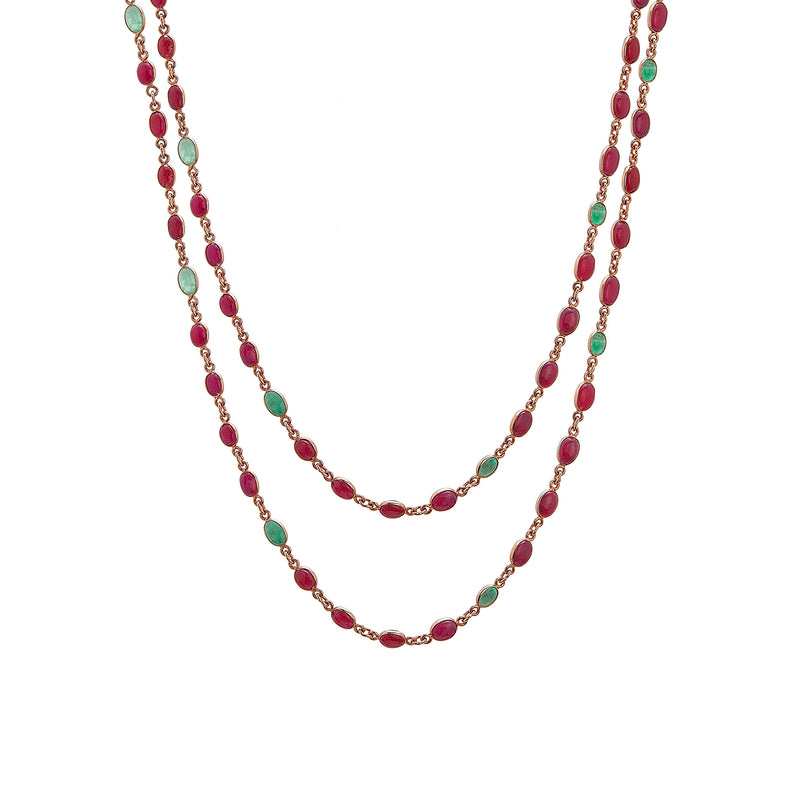Necklace - Ruby and Emerald Cabochon