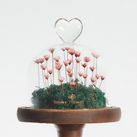 Heart Stand Dome Snowy Flower