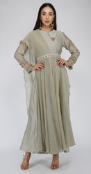 Flaired Drape Dress