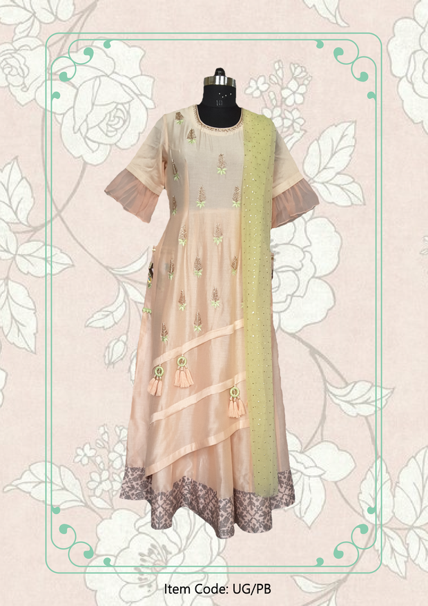 Peek-a-boo Layered Anarkali Dress