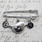 Personalised  contemporary bird kilt pin brooch