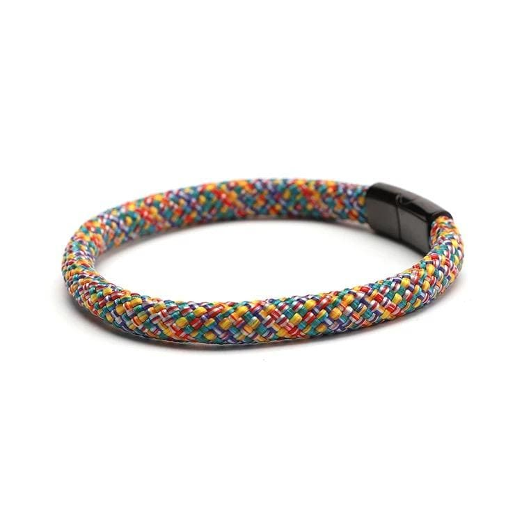 Multi Colour Rope Bracelet With Black Magnetic Clasp For Men And Women. Vegan and Ethical