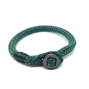 Rope Bracelet With Black Button Shackle For Men And Women Sea Green. Zamsoe