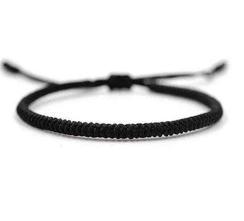 Tibetan Chinese handmade braid snake knot rope Buddhist lucky bracelet For Men And Women Black Zamsoe