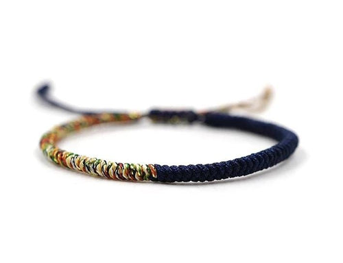 Tibetan Chinese handmade braid snake knot rope Buddhist lucky bracelet For Men And Women Navy and Multi Coloured. Zamsoe