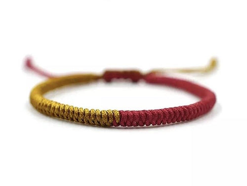 Tibetan Chinese handmade braid snake knot rope Buddhist lucky bracelet For Men And Women Red and Gold Zamsoe