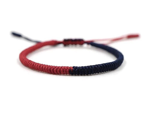 Tibetan Chinese handmade braid snake knot rope Buddhist lucky bracelet For Men And Women Red and Navy. Zamsoe