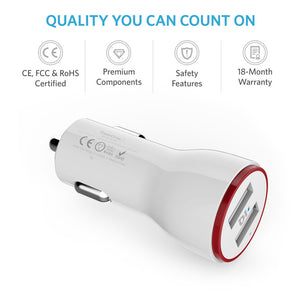 Anker 24W 2-Port Car Charger with 3ft Micro USB Cable