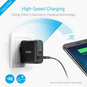 Anker 24W PowerPort 2 with 3ft Micro USB Cable