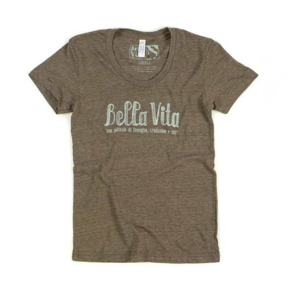 Bella Vita - Women's Tri-Blend Track Tee (Coffee)