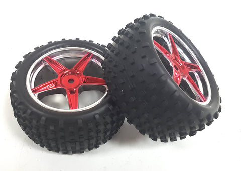 06010 1//10 Off Road RC Buggy Front Wheels Tyre White 5 Spoke x 2
