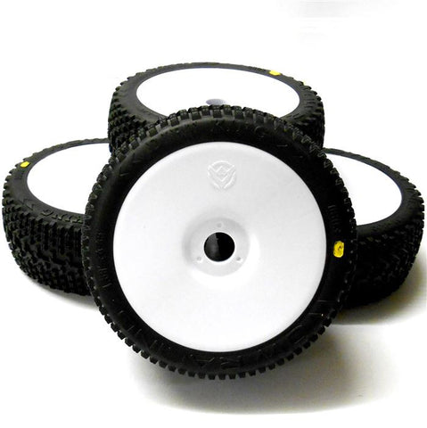 0803W-1 RC Buggy 1/8 Off Road Wheels and Tyre 17mm White Disc 4 Medium V1 Cross