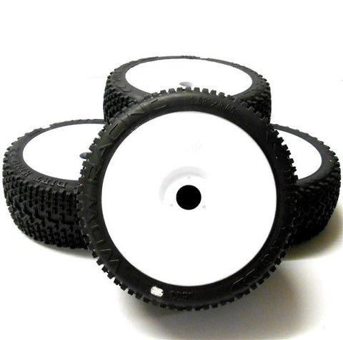 0803W-2 RC Buggy 1/8 Off Road Wheels and Tyre 17mm White Disc 4 Soft V2 Cross