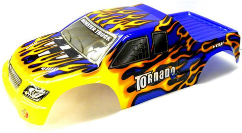 08301 1/8 Scale RC Nitro Monster Truck Body Shell Cover Blue Flame Cut