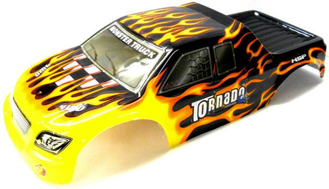 08304 1/8 Scale RC Nitro Monster Truck Body Shell Cover Black Flame Cut