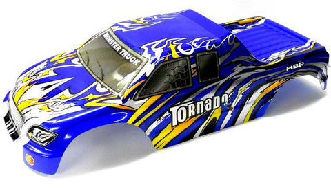 08305 1/8 Scale RC Nitro Monster Truck Body Shell Cover Navy Blue Flame Cut