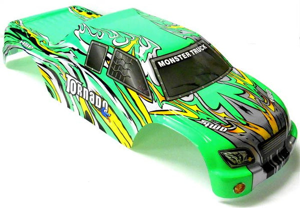 08308 1/8 Scale RC Nitro Monster Truck Body Shell Cover Green Cut
