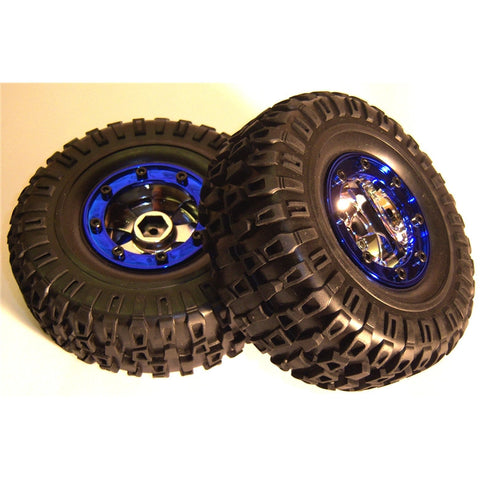 BS703-004 1/10 Scale RC Rock Crawler Off Road Wheels and Tyres 2 Blue Plastic